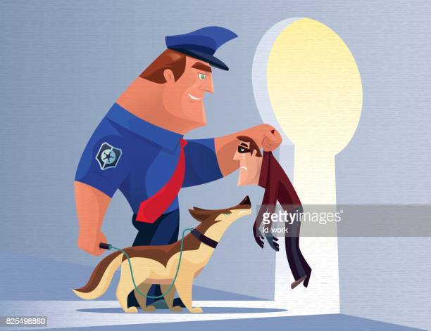 security guard catching thief - office safety stock illustrations, clip art, cartoons, & icons