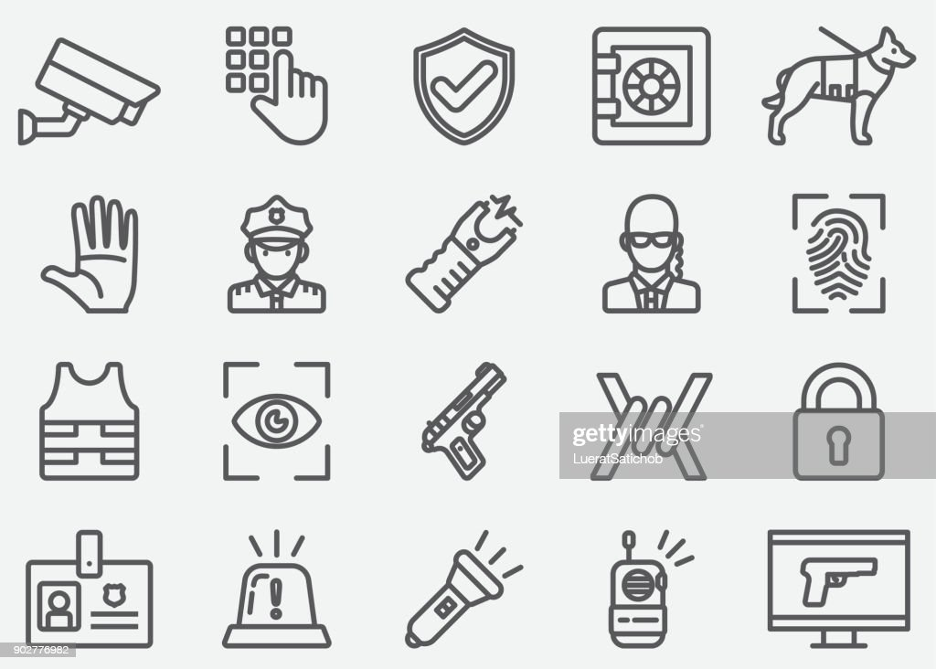 Security Guard Line Icons : stock illustration