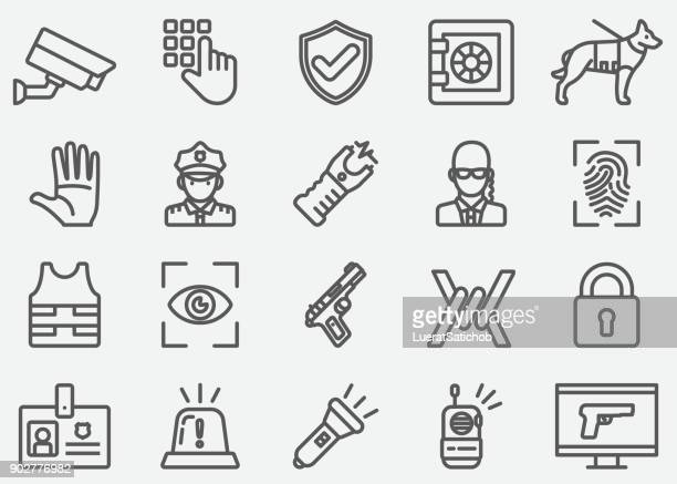 security guard line icons - security camera stock illustrations