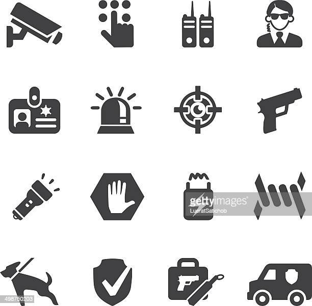 security guard silhouette icons | eps10 - security camera stock illustrations
