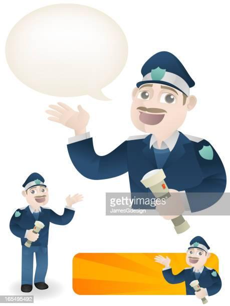 security guard - flashlight beam stock illustrations, clip art, cartoons, & icons