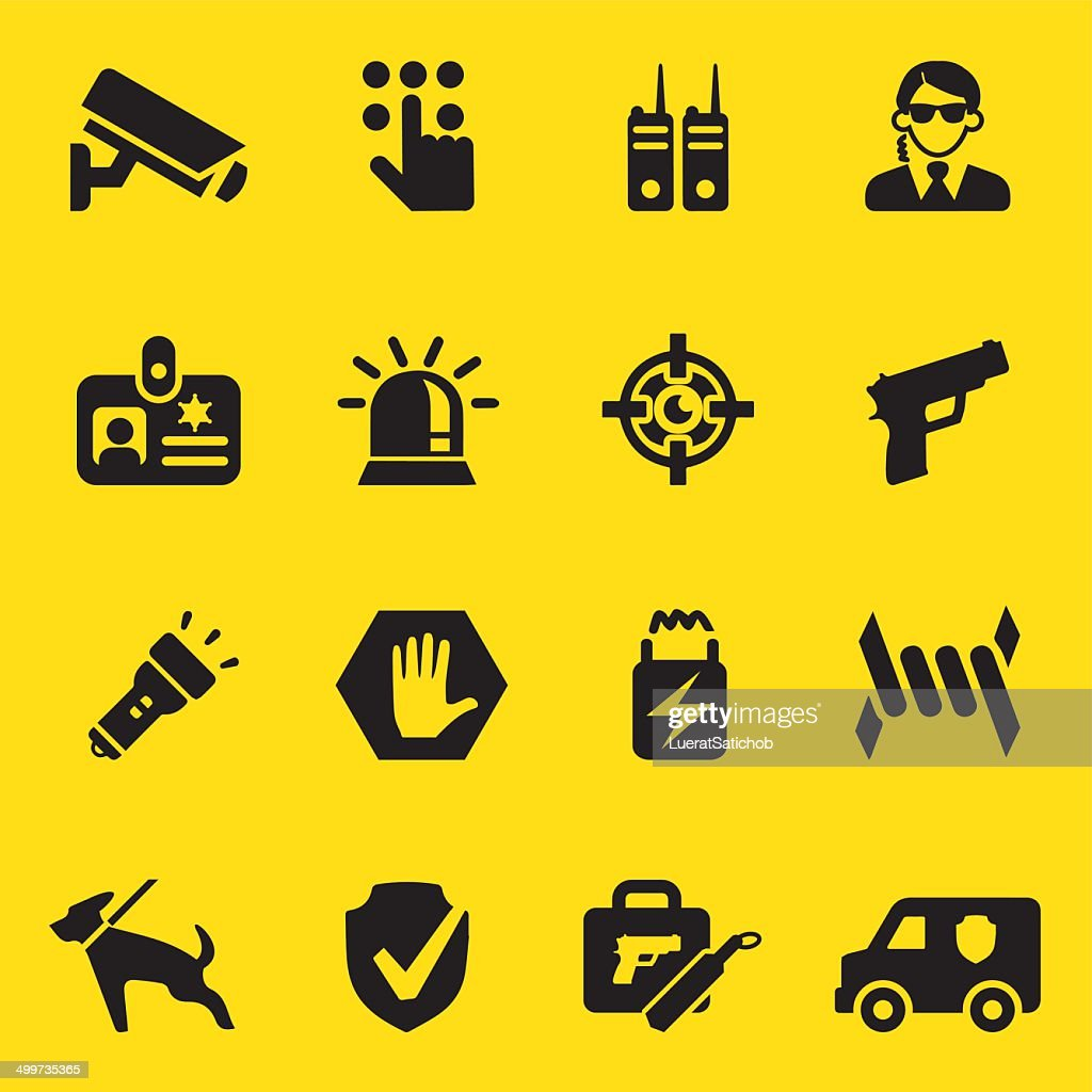 Security Guard Yellow Silhouette icons | EPS10