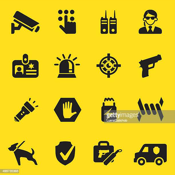 security guard yellow silhouette icons | eps10 - place of work stock illustrations, clip art, cartoons, & icons