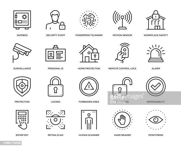 illustrazioni stock, clip art, cartoni animati e icone di tendenza di security icon set - sicurezza