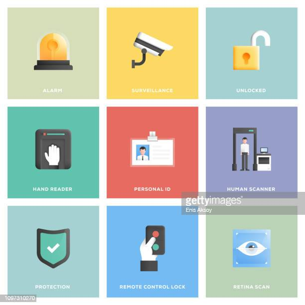 security icon set - safety equipment stock illustrations, clip art, cartoons, & icons