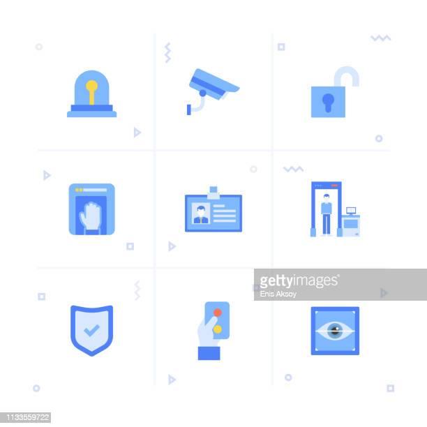 illustrazioni stock, clip art, cartoni animati e icone di tendenza di set di icone di sicurezza - sensore