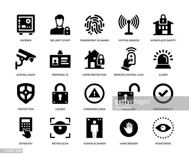 illustrazioni stock, clip art, cartoni animati e icone di tendenza di security icon set - affidabilità