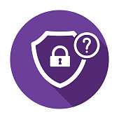 Security icon with question mark. Security icon and help, how to, info, query symbol. Vector icon