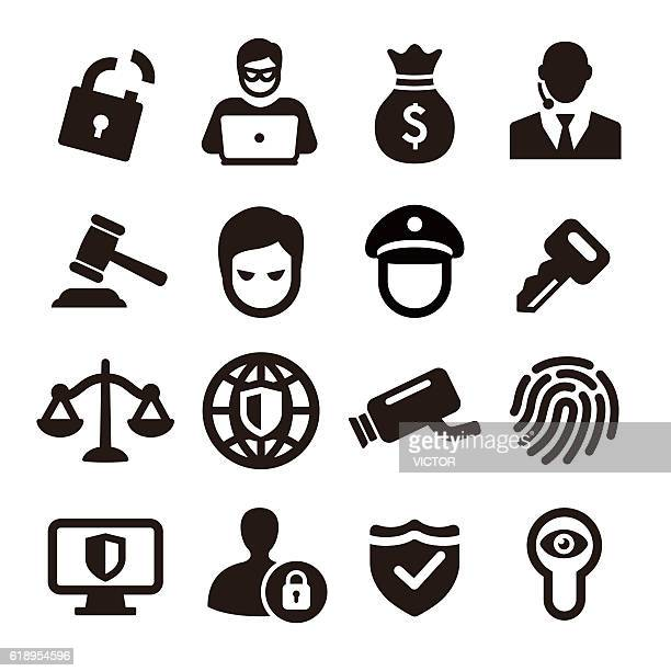 security icons - acme series - criminal stock illustrations