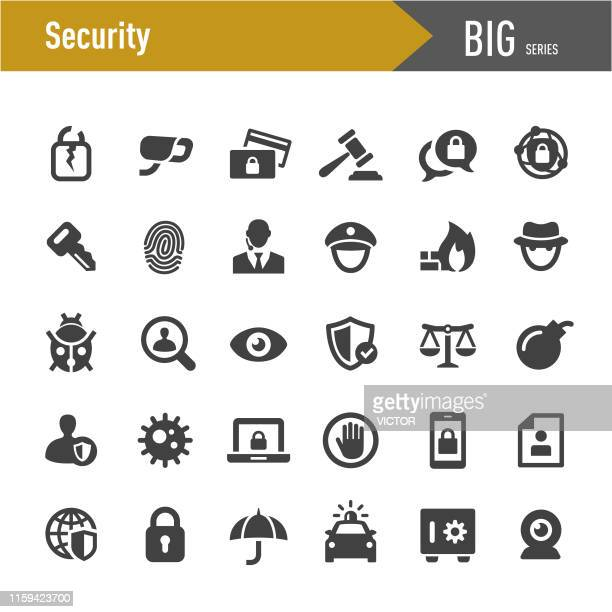 illustrazioni stock, clip art, cartoni animati e icone di tendenza di security icons - big series - sicurezza