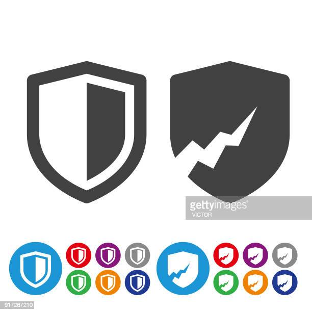 security icons - graphic icon series - shield stock illustrations