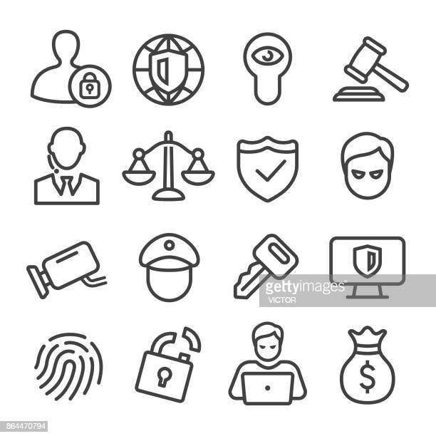 security icons - line series - verification stock illustrations, clip art, cartoons, & icons