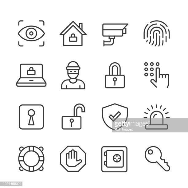security icons — monoline series - eye scanner stock illustrations