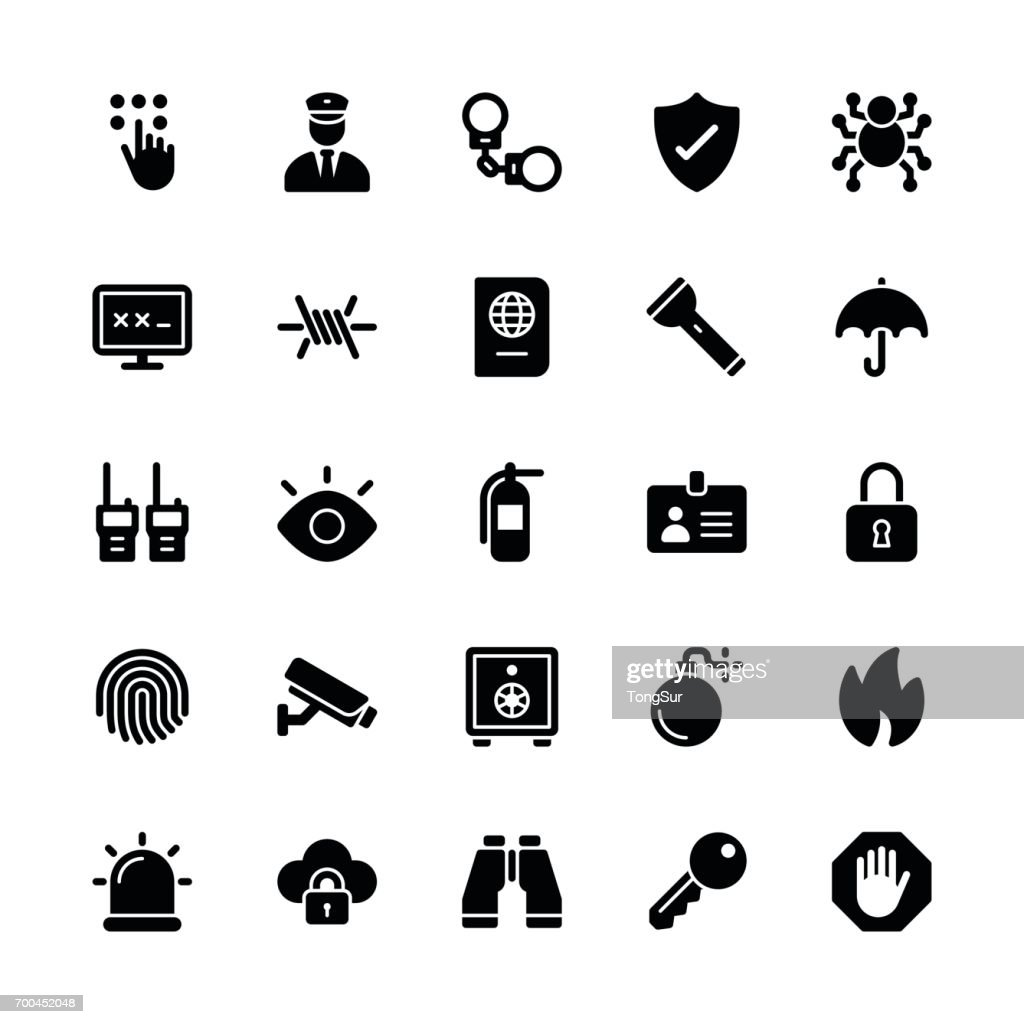 Security icons - Regular Glyph : stock illustration