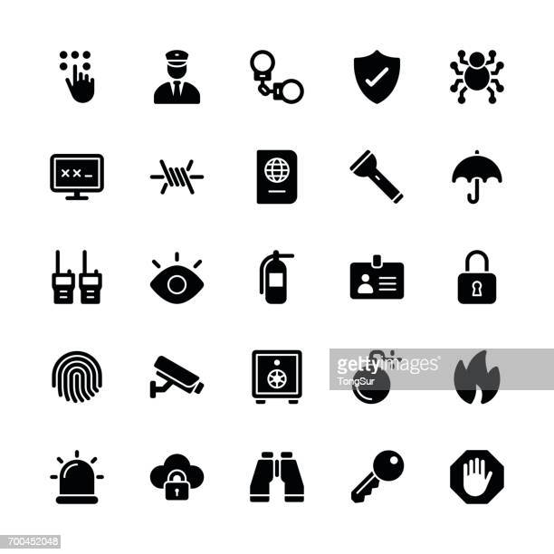 security icons - regular glyph - security camera stock illustrations