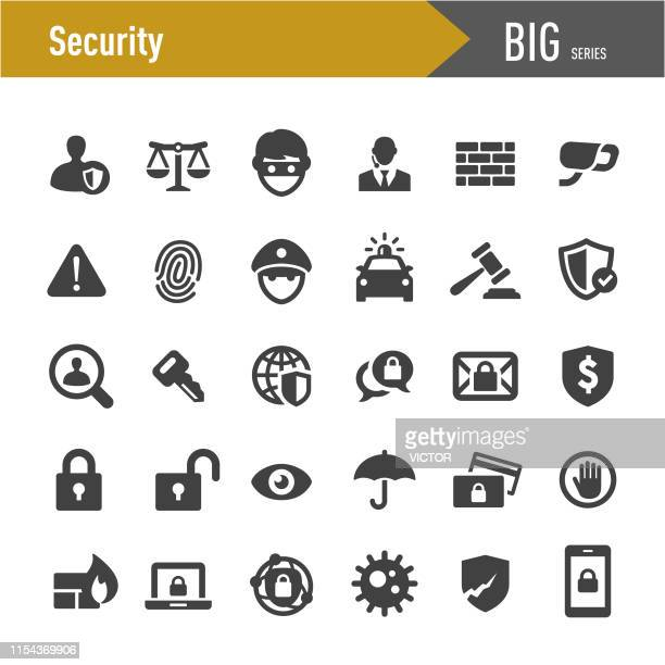 illustrazioni stock, clip art, cartoni animati e icone di tendenza di security icons set - big series - sicurezza