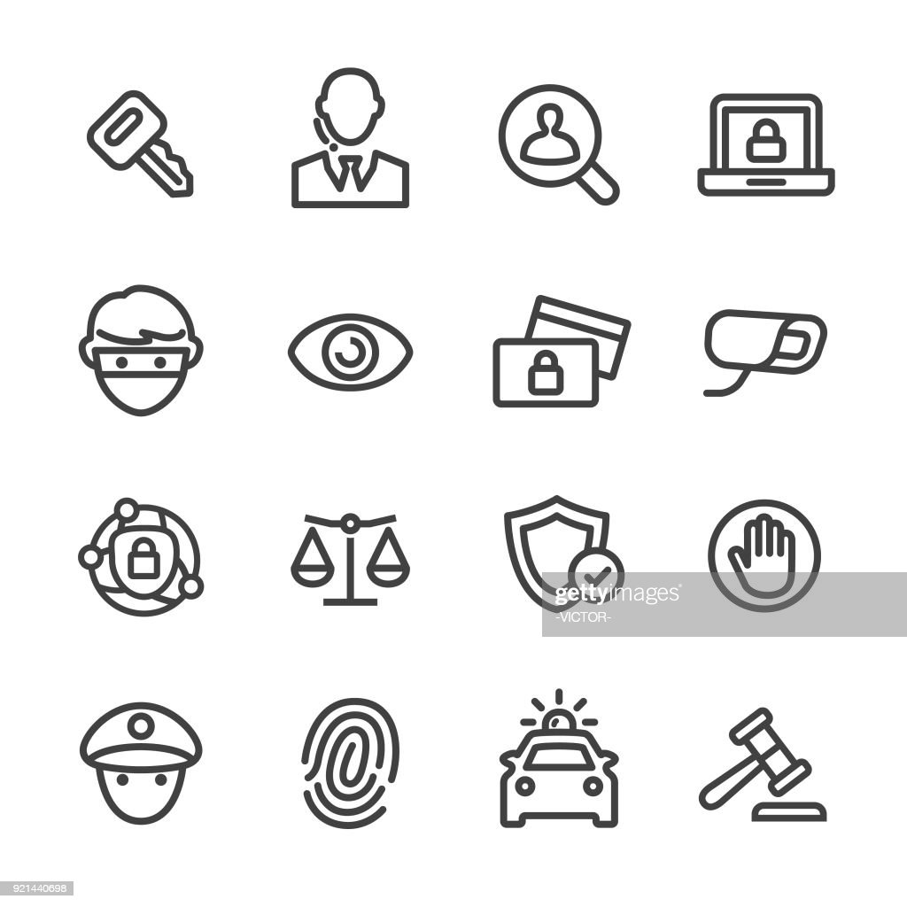 Security Icons Set - Line Series : stock illustration