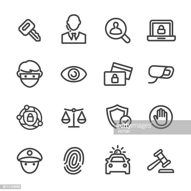 security icons set - line series - security camera stock illustrations