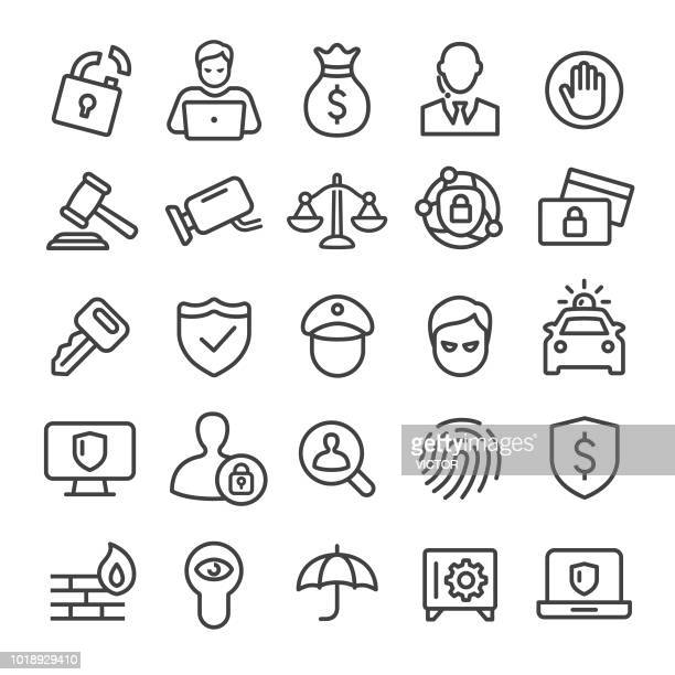 security icons set - smart line series - verification stock illustrations, clip art, cartoons, & icons