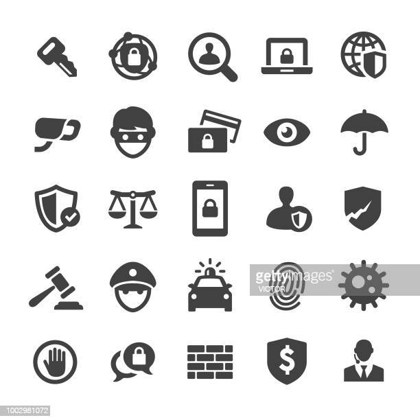 illustrazioni stock, clip art, cartoni animati e icone di tendenza di security icons set - smart series - sicurezza