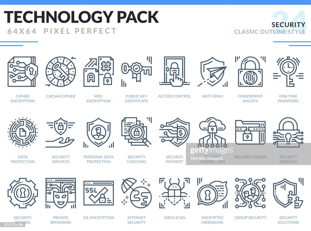Security Icons Set. Technology outline icons pack. Pixel perfect thin line vector icons for web design and website application.