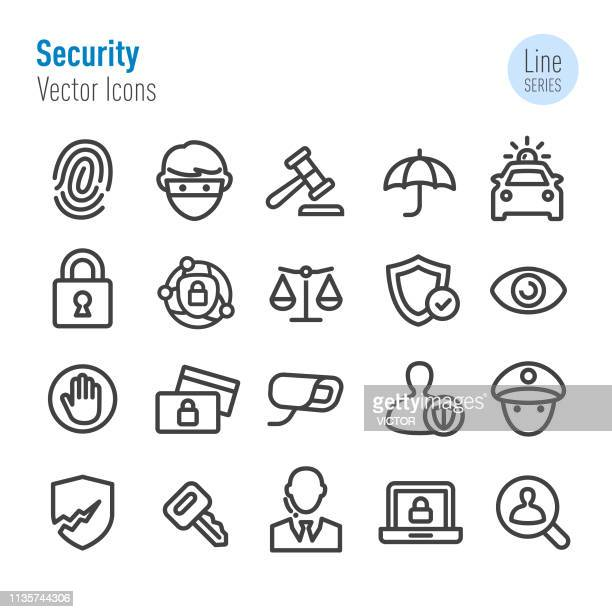 security icons set - vector line series - identity theft stock illustrations