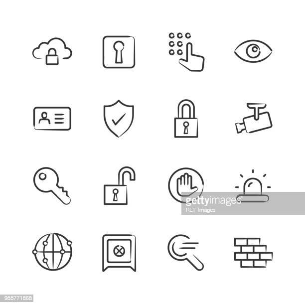 security icons — sketchy series - part of a series stock illustrations