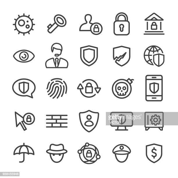 illustrazioni stock, clip art, cartoni animati e icone di tendenza di security icons - smart line series - sicurezza