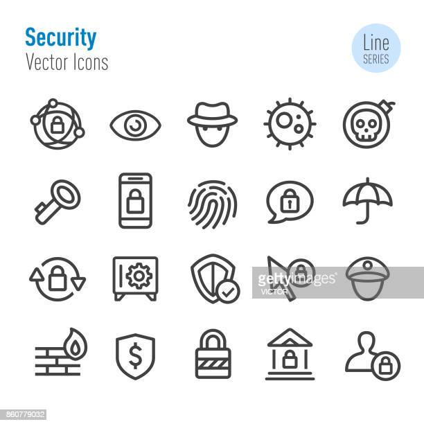 security icons - vector line series - verification stock illustrations, clip art, cartoons, & icons