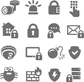 Security icons. Web mobile IT data protection vector set