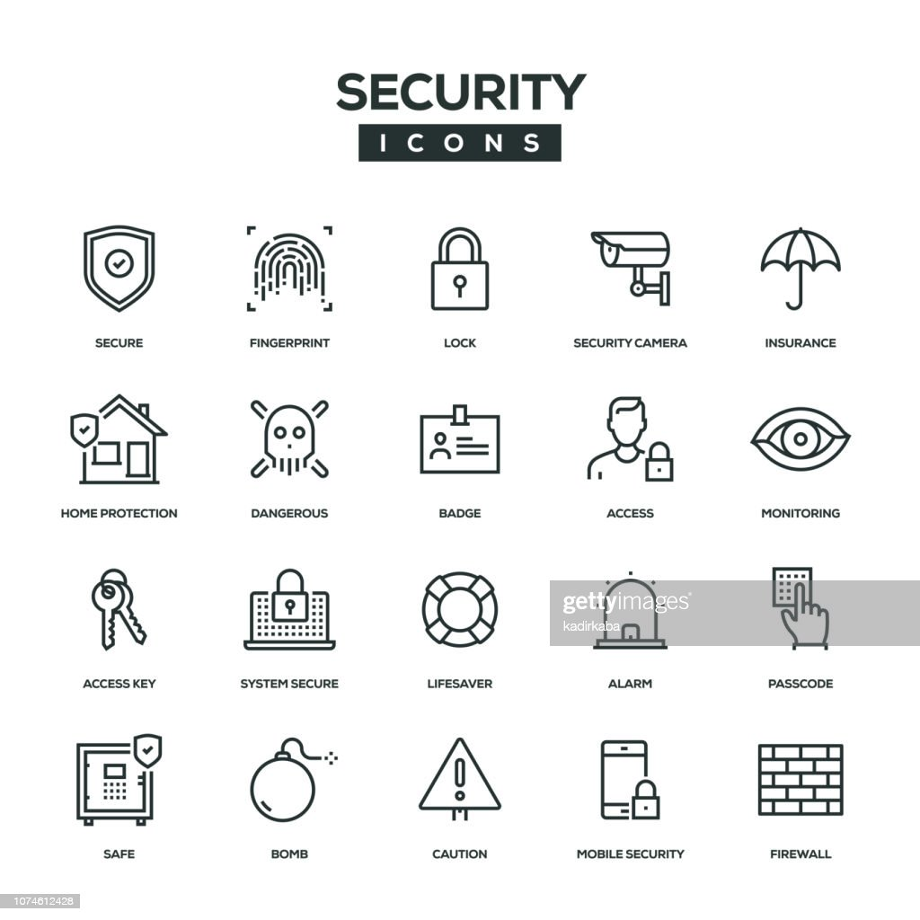 Security Line Icon Set : stock illustration