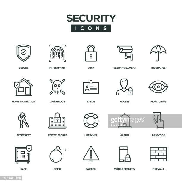 security line icon set - security camera stock illustrations