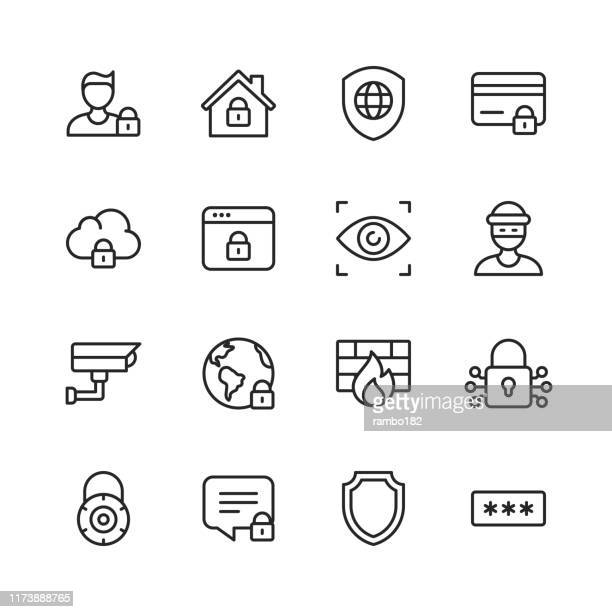 security line icons. editable stroke. pixel perfect. for mobile and web. contains such icons as cybersecurity, home security, thief, security camera, password protection, cryptography. - surveillance camera stock illustrations, clip art, cartoons, & icons