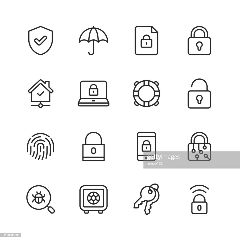Security Line Icons. Editable Stroke. Pixel Perfect. For Mobile and Web. Contains such icons as Security, Shield, Insurance, Padlock, Computer Network, Support, Keys, Safe, Bug, Cybersecurity. : Ilustração de stock