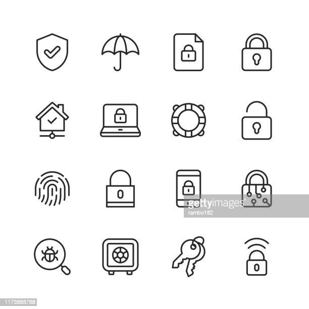 security line icons. editable stroke. pixel perfect. for mobile and web. contains such icons as security, shield, insurance, padlock, computer network, support, keys, safe, bug, cybersecurity. - shield stock illustrations