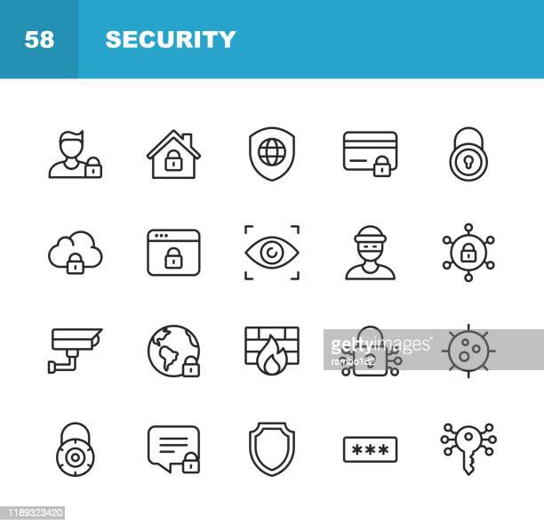 security line icons. editable stroke. pixel perfect. for mobile and web. contains such icons as security, shield, insurance, padlock, computer network, support, keys, safe, bug, cybersecurity. - security camera stock illustrations