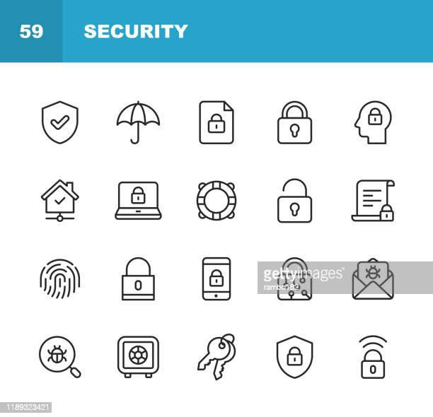 security line icons. editable stroke. pixel perfect. for mobile and web. contains such icons as security, shield, insurance, padlock, computer network, support, keys, safe, bug, cybersecurity. - malfarbe stock illustrations