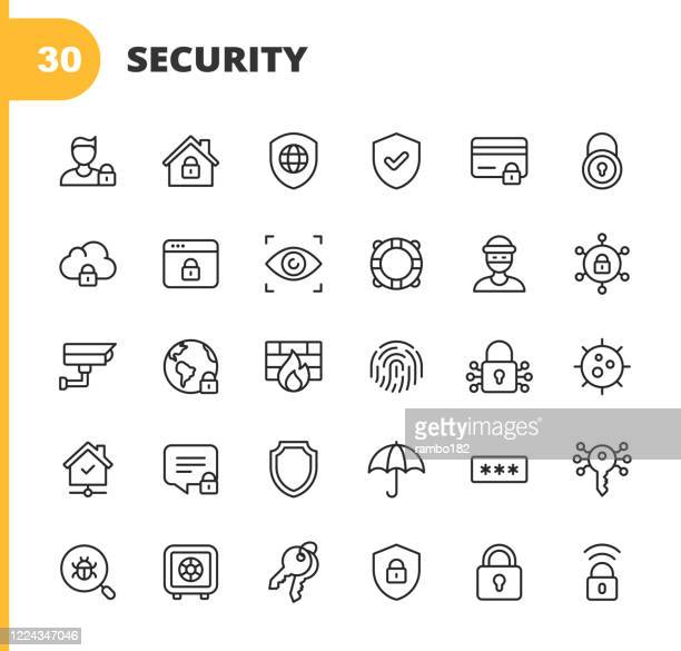 security line icons. editable stroke. pixel perfect. for mobile and web. contains such icons as security, shield, insurance, padlock, computer network, support, keys, safe, bug, cybersecurity, virus, remote work, support, thief, insurance. - identity theft stock illustrations