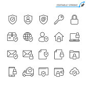 Security line icons. Editable stroke. Pixel perfect.