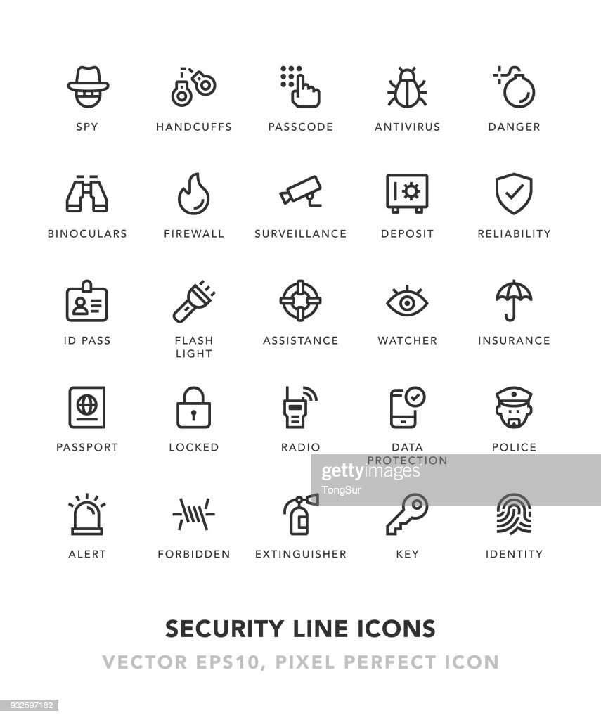 Security Line Icons : stock illustration