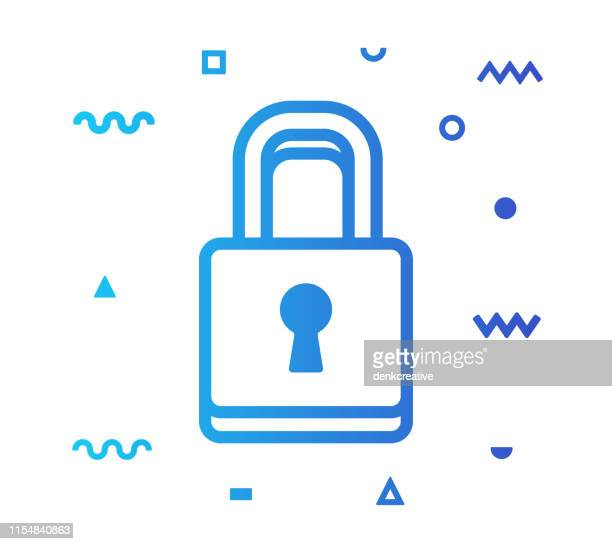 security line style icon design - access control stock illustrations, clip art, cartoons, & icons
