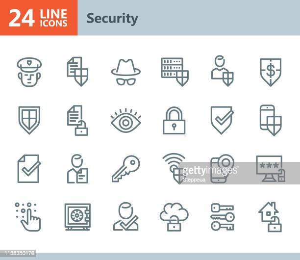security - line vector icons - encryption stock illustrations