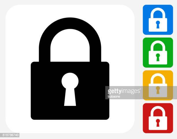 security lock icon flat graphic design - keyhole stock illustrations, clip art, cartoons, & icons