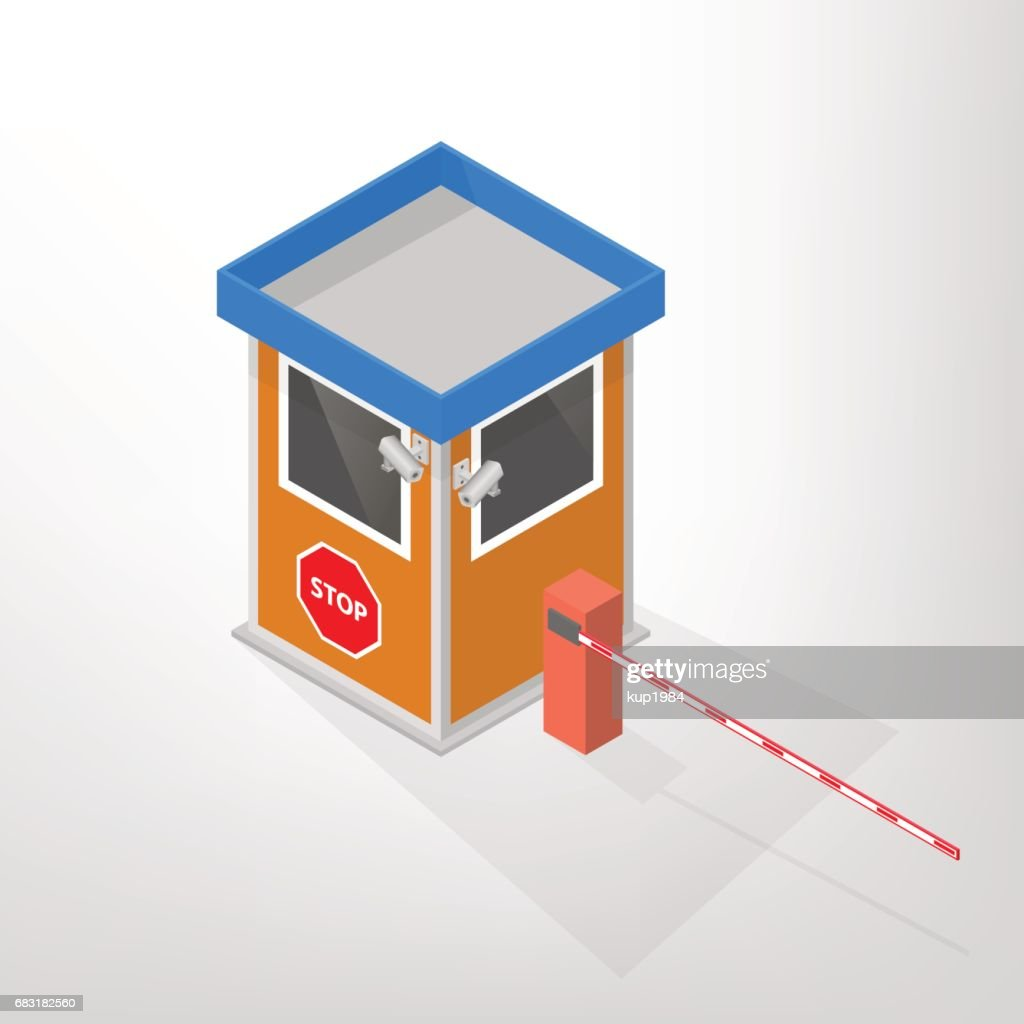 Security lodges with automatic barrier isometric, vector illustration.