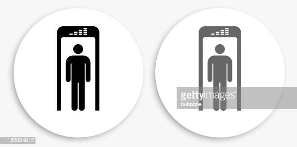 Security Metal Detector Black and White Round Icon