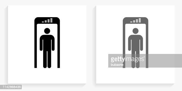 security metal detector black and white square icon - security scanner stock illustrations