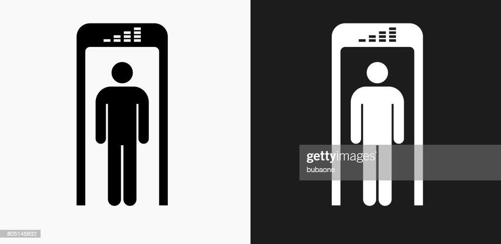 Security Metal Detector Icon On Black And White Vector Backgrounds