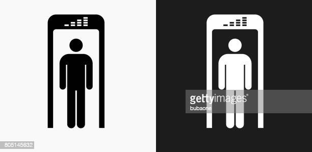 security metal detector icon on black and white vector backgrounds - metal detector security stock illustrations