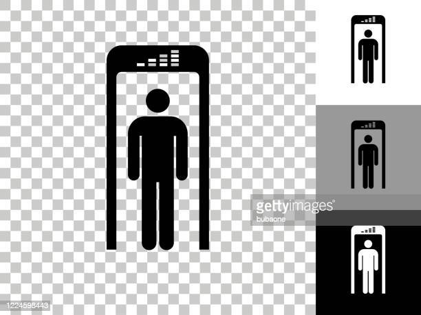 security metal detector icon on checkerboard transparent background - security scanner stock illustrations