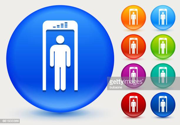 Security Metal Detector Icon on Shiny Color Circle Buttons